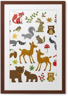 Plakát v rámu Les volně žijících živočichů kliparty