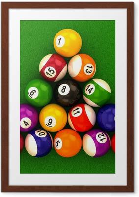 Póster com Moldura billiard balls with numbers