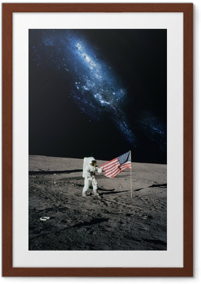 Póster com Moldura Astronaut walking on moon. Elements of this image furnished by N