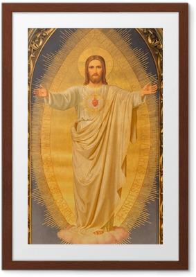 Gerahmtes Poster Wien - Herz von Jesus malen auf Altar der Kirche Sacré-Coeur