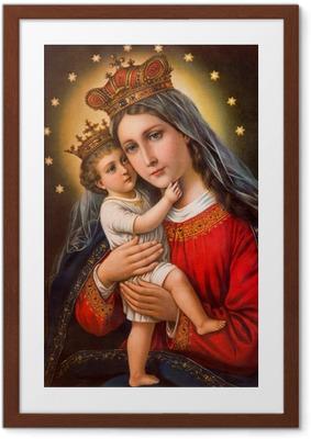 Gerahmtes Poster Typische katholischen Bild Madonna mit dem Kinde