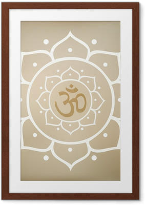 Vector Lotus Mandala with Om Symbol Framed Poster