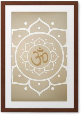 Póster Enmarcado Vector de la mandala de Lotus con el símbolo de OM