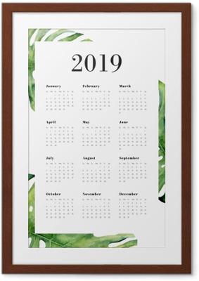 Poster en cadre Calendrier 2019 - Monstera -