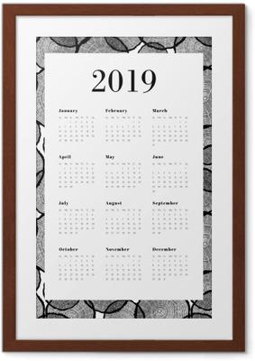 Poster en cadre Calendrier 2019 - Troncs d'arbres