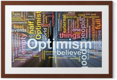 Gerahmtes Poster Optimism Wort-Wolke glühend