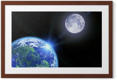 Gerahmtes Poster Die Erde der Mond und die Sterne im Weltall