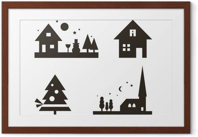 Weihnachtliche Silhouetten: Landschaft, Weihnachtsbaum, ... Framed Poster