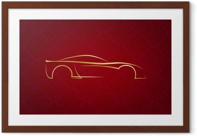 Gerahmtes Poster Abstrakt kalli Auto-Logo auf rotem Hintergrund