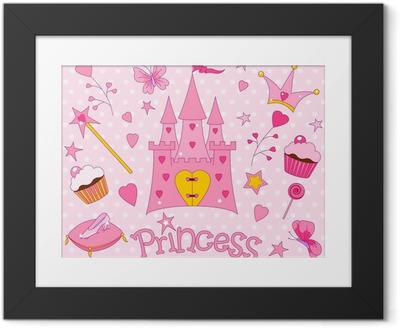 Innrammet plakat Søte prinsesse ikoner