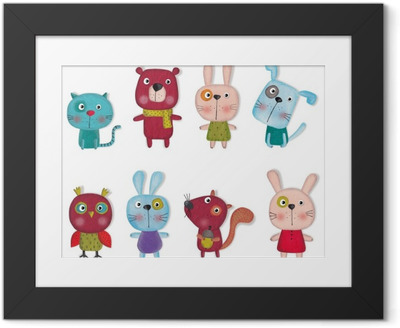 Póster Enmarcado Conjunto de animales de dibujos animados