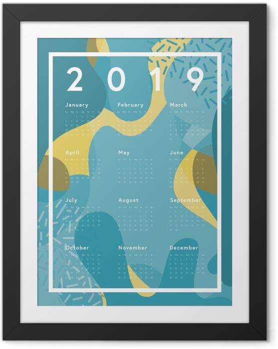 Póster com Moldura Calendário 2019 - azul abstração -