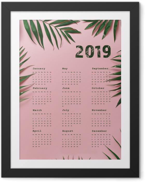 Plakát v rámu Kalendář 2019 - růžové a listy -