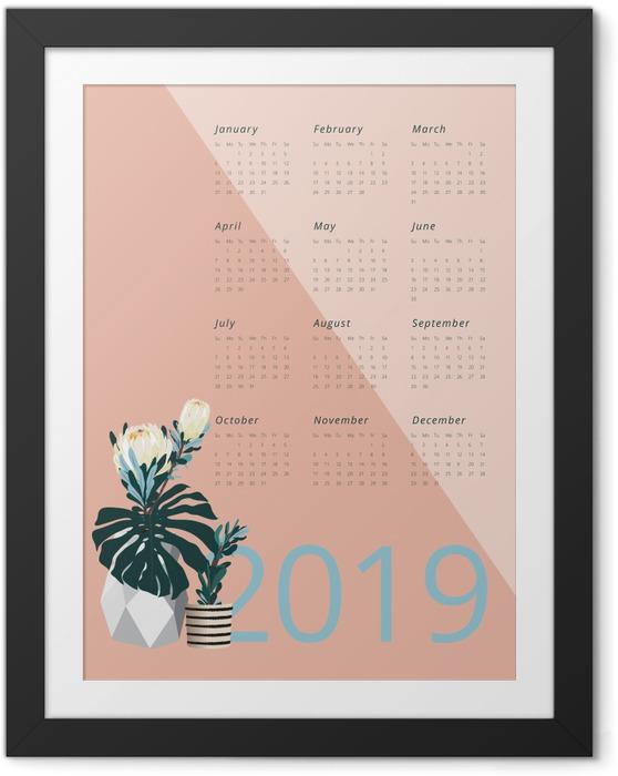 Gerahmtes Poster Kalender 2019 - Pantone 2019 -