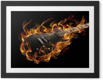 Electric guitar in fire and flames Framed Poster