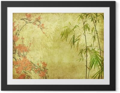 Poster en cadre Fleur de bambou et prune sur la texture de vieux papier antique