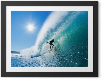 Gerahmtes Poster Surfer on Blue Ocean Wave