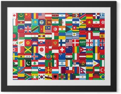 Poster en cadre Fond fait de drapeaux icônes du monde
