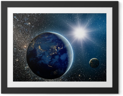 Gerahmtes Poster Sonnenaufgang über dem Planeten und Satelliten im Weltraum.