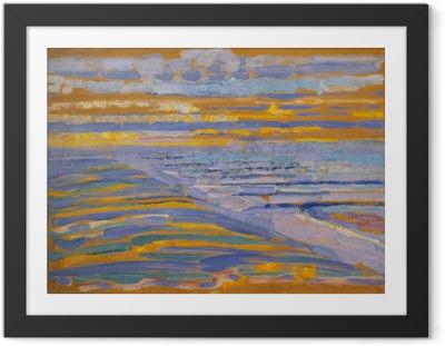 Poster i Ram Piet Mondrian - Utsikt från sanddyner med stranden och bryggan