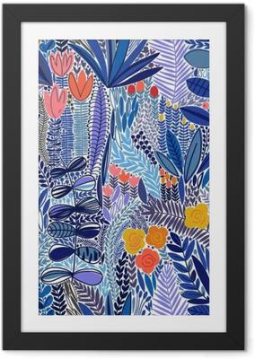 Plakat w ramie Tropical szwu kwiatowy wzór