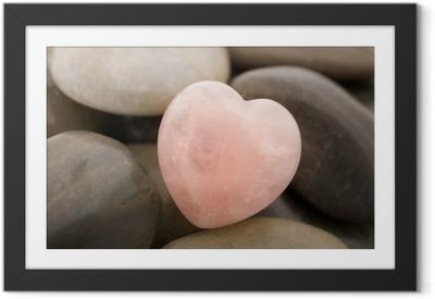 rose quartz heart Framed Poster