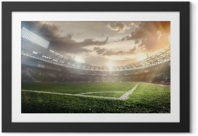 Plakat w ramie Sportowe tła. stadion piłkarski.