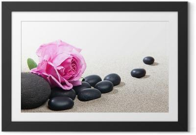 Gerahmtes Poster Zen - rosa und schwarzen Steinen