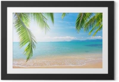 Ingelijste Poster Palmbomen en tropische strand