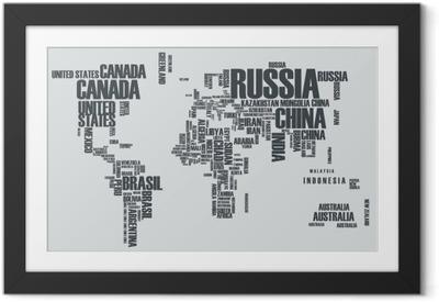 Poster in Cornice Mappa del mondo: i contorni del paese è costituito dalle parole