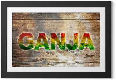 Poster i Ram Vad Holzbrett Text - Ganja