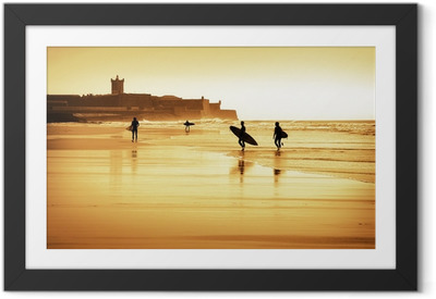 Surfers silhouettes Framed Poster