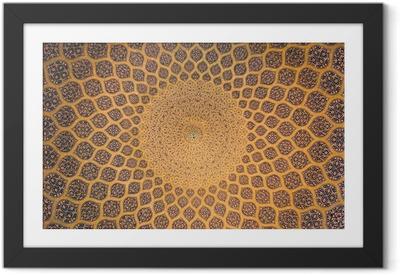 Gerahmtes Poster Kuppel der Moschee, orientalische Ornamente aus Isfahan, Iran