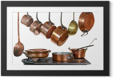 Poster en cadre Casseroles et ustensiles de cuisine en cuivre