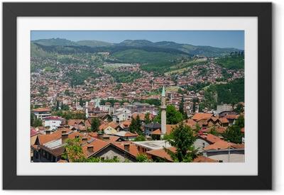 Gerahmtes Poster Stadtansicht von Sarajevo