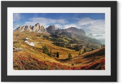 Mountain panorama in Italy Alps dolomites - Passo Gardena Framed Poster