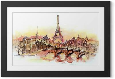 sunset in Paris Framed Poster