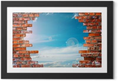 Gerahmtes Poster Backsteinmauer mit Loch