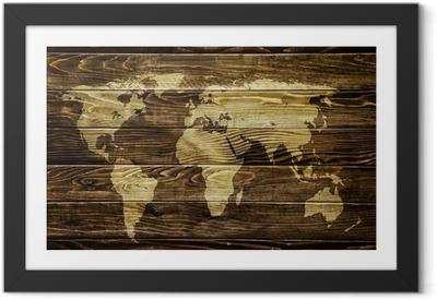 Plakat w ramie Mapa świata na tle drewna