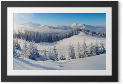 Panorama of winter mountains Framed Poster