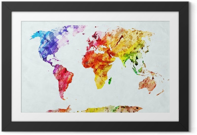 Watercolor world map Framed Poster