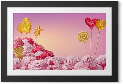 Poster en cadre Paysage magique douce de la crème glacée et des bonbons