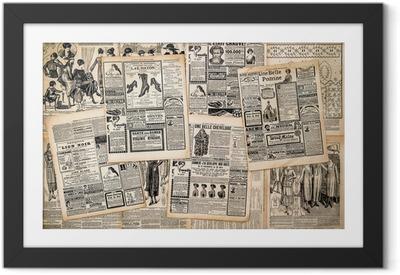 Póster com Moldura Newspaper pages with antique advertising
