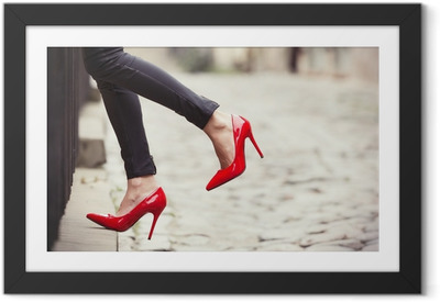 Woman wearing black leather pants and red high heel shoes Framed Poster