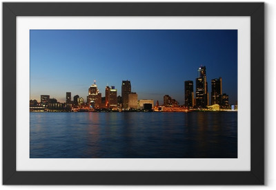 City skyline at night - Detroit, Michigan Framed Poster