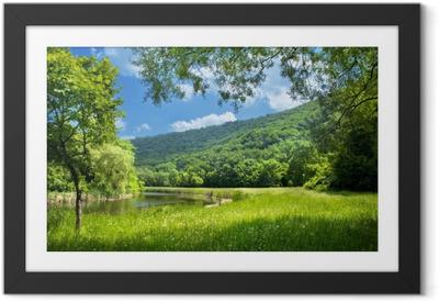Poster i Ram Sommaren landskap med floden och blå himmel