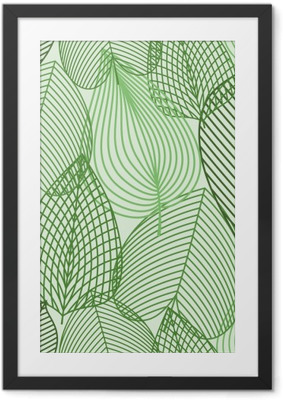 Ingelijste Poster Spring groene bladeren naadloos patroon