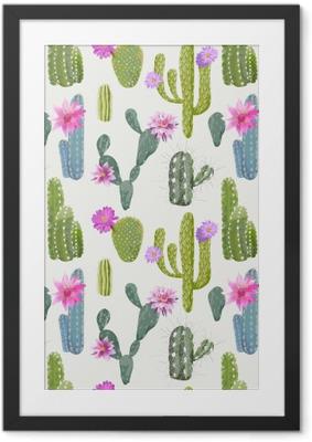 Plakat w ramie Wektor kaktus tło. Seamless Pattern. Egzotyczne rośliny. Zwrotnik
