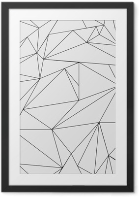 Geometric simple black and white minimalistic pattern, triangles or stained-glass window. Can be used as wallpaper, background or texture. Framed Poster