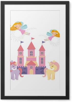 Ingelijste Poster Schattige roze fantasie kasteel vectorillustratieontwerp